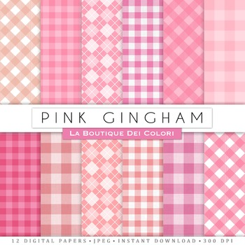 Pink Gingham Digital Paper, scrapbook backgrounds