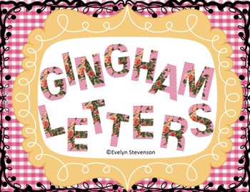 Pink Gingham and Roses Letters