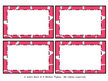 Pink Giraffe Labels by Kinder Tykes
