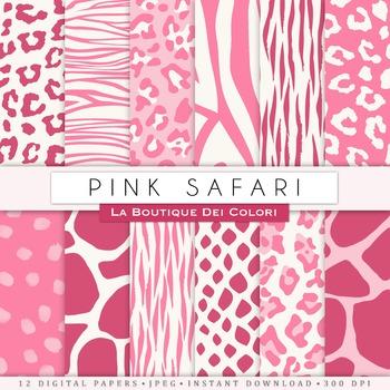 Pink Girly Animal Prints Digital Paper, scrapbook backgrounds.