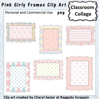 Pink Girly Frames or Labels Clip Art Color personal & comm