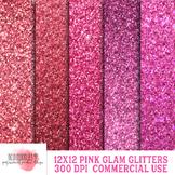 Pink Glam Glitter Digital Paper, 12x12 inch 300 dpi, Comme