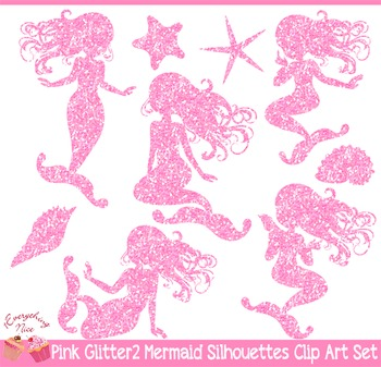 Mermaid glitter. Pink silhouettes clipart set