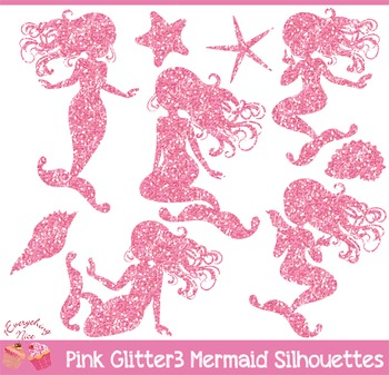 Pink Glitter 3 Mermaid Silhouettes Clipart Set