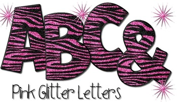 Tiger Print Alphabet - Pink Glitter