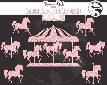 Pink Glitter Carousel Silhouette Clip Art Set