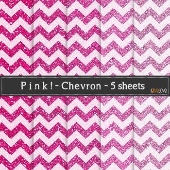 Pink Glitter Chevron