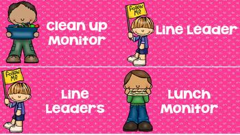 Pink Glitter Classroom Jobs