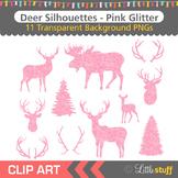 Pink Glitter Deer Silhouette Clipart, Deer Head Silhouettes, Antlers