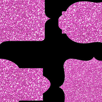 Pink Glitter Frames, Sparkle Bokeh Digital Borders