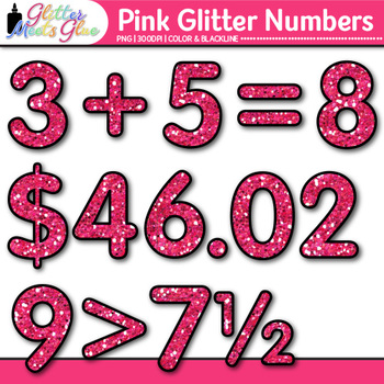 Pink Glitter Math Numbers Clip Art {Great for Classroom Decor & Resources}