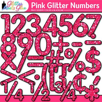 Pink Glitter Math Numbers Clip Art {Great for Classroom De