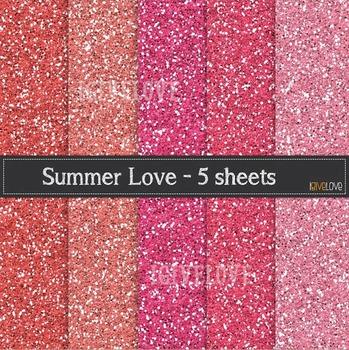 """Pink Glitter Paper - """"Summer Love"""""""
