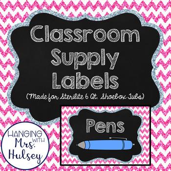 Pink Glitter School Supply Labels (Editable)