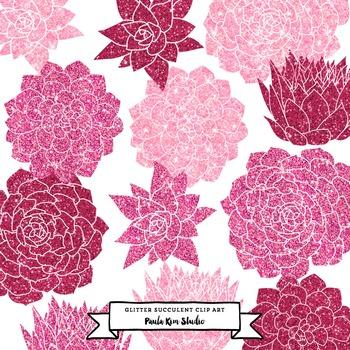 Pink Glitter Succulent Flower Clip Art
