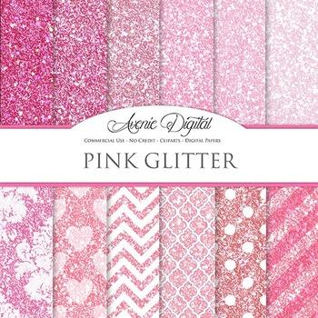 Pink Glitter Textures Background Digital Paper scrapbook sparkle, glittery