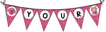 Pink Glitter Valentine Banner, Printable Editable PDF Banner {3 VECTOR GRAPHICS}