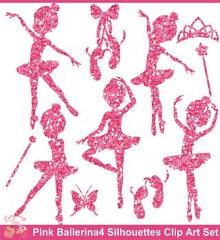 Pink Glitters Ballerina Silhouettes 4 Clipart Set