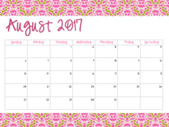 Pink & Gold Damask Calendars (2017-2018)