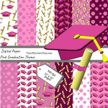 Pink Graduation Digital Papers - Scrapbooking Paper - Scrapbook Clip Art
