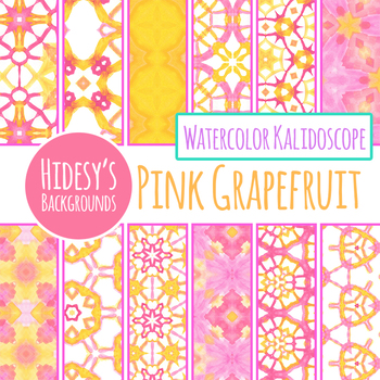 Pink Grapefruit Watercolor Handpainted Backgrounds / Digital Papers