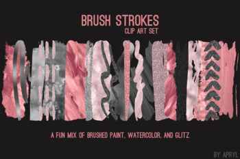 Pink Gray Brush Strokes Paint Glitter Foil Watercolor 20 PNG Clip Art 12in CU
