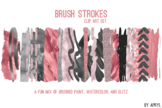 Pink Gray Brush Strokes Paint Glitter Foil Watercolor 20 P