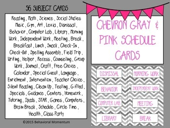 Pink & Gray Chevron Schedule Cards