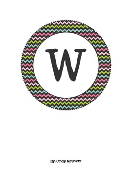 Pink, Green, & Blue Chevron Word Wall Letters
