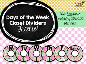 Pink Green & Gold Closet Dividers FREEBIE