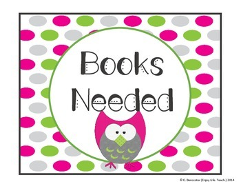 Pink & Green Owl Books Needed Set