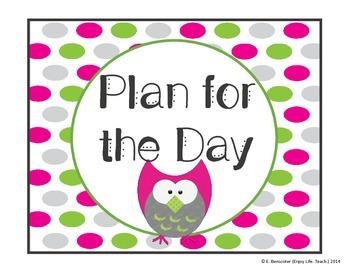 Pink & Green Owl Schedule Set
