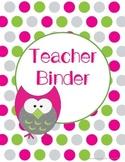 Pink & Green Owl Teacher Binder