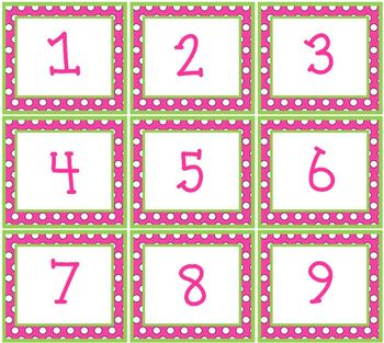 Pink & Green Polka Dots Pocket Chart or Wall Calendar Set