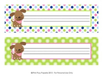 Pink Green Puppy Classroom Decor Desk Name Plates
