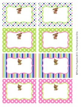 Pink Green Puppy Dog Classroom Bin Tag Labels
