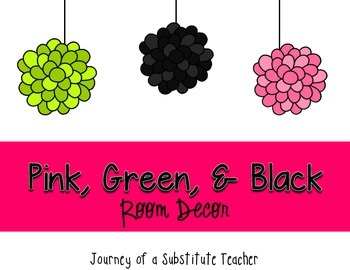 Pink, Green and Black  Room Decor Pack