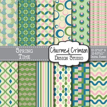 Pink, Green, and Blue Retro Digital Paper 1216