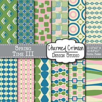 Pink, Green and Blue Retro Digital Paper 1218