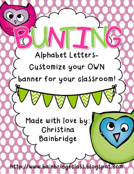 Pink, Green, and Purple Owl Themed Buntings- Customize Your Own Banner!
