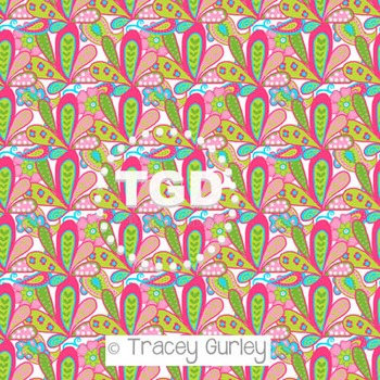 Pink, Green, and Turquoise Paisley Pattern on white background digital paper