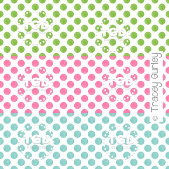 Pink, Green, and Turquoise Small Polka Dot Pattern on Whit