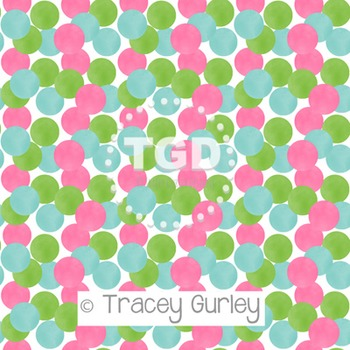 Pink, Green, and Turquoise Watercolor Polka Dot Pattern on White digital paper