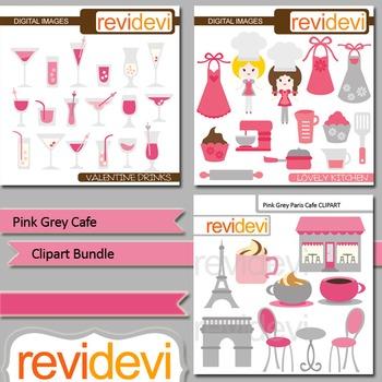 Pink Grey Cafe clip art bundle (3 packs)