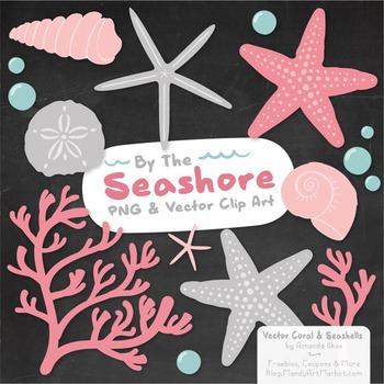 Pink & Grey Coral & Seashells Clipart