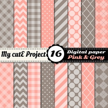 "Pink & Grey DIGITAL PAPER - Scrapbooking- A4 & 12x12"" - St"