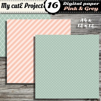 "Pink & Grey DIGITAL PAPER - Scrapbooking- A4 & 12x12"" - Stripes..."