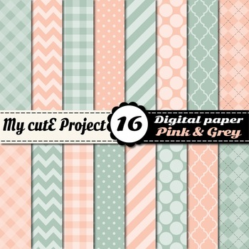 "Pink & Grey DIGITAL PAPER - Scrapbooking- A4 & 12x12"" - Stripes..."