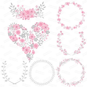Pink & Grey Floral Heart Clipart