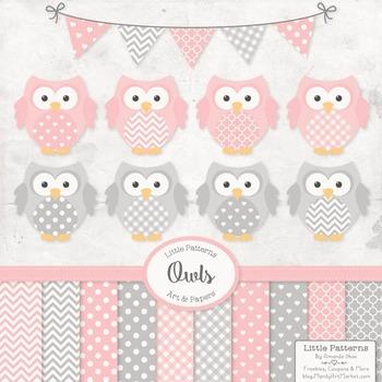 Pink & Grey Owl Vectors & Papers - Baby Owl Clipart, Owl Clip Art, Baby Owls